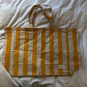 Sezane Canvas Yellow Striped Beach Bag NWOT